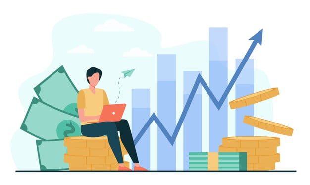 investor with laptop monitoring growth dividends trader sitting stack money investing capital analyzing profit graphs vector illustration finance stock trading investment 74855 8432